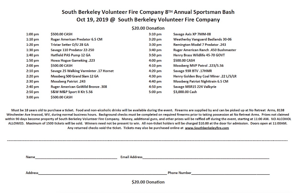 Sportsman Bash - South Berkeley Volunteer Fire Company
